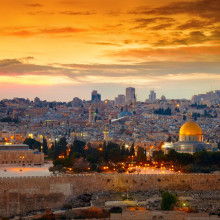 View of Jerusalem's Old City in Israel at Sunset