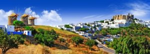 Scenic View of the Island of Patmos in Greece