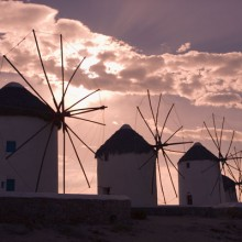 Sunset behind the Windmills of Mykonos, Greece