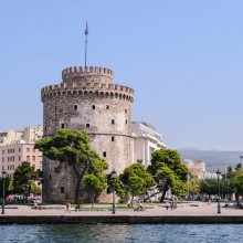 A stone tower on the edge of the coast in downtown Thessaloniki